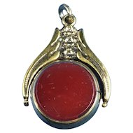 English Victorian Swivel/Flip Watch Fob.           Carnelian and Bloodstone
