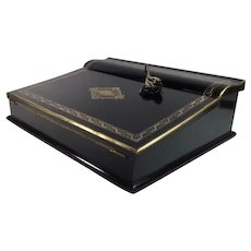 Ebonized French Writer's Lap Desk, Slope, Mother-of-Pearl and Brass Inlay, 19th Century