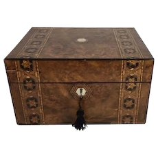 Tunbridge Ware Inlaid Burr Walnut Gentleman's Dressing Box, Mother of Pearl Inlay, Working Lock and Key, Side Drawer