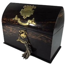 Scottish Coromandel Stationary Box, Gothic Style, Laid Brass Decoration, Original Complete Interior