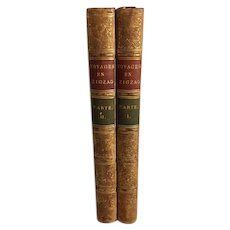 Voyages en Zigzag, Excursions in the French and Italian Alps by Rudolph Töpffer, Leather Bound Paris, 1844