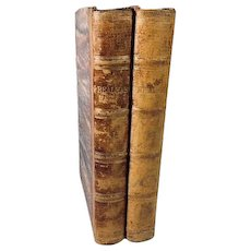 Two Volumes 3/4 Leather Bound Books, Realmah by Arthur Helps, London, 1868