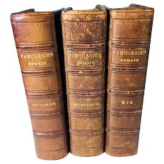 Three Volumes of Roman Parishioner, by Cardinal Meignan, Tours, 1893, French, Leather Bound