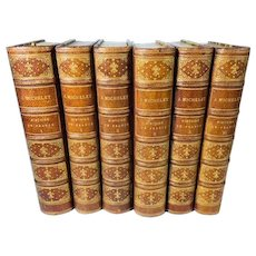 Six Volumes of the History of France, by J. Michelet, Paris, 1885, 3/4 Leather Bound, French