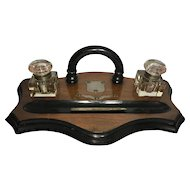 Antique Mahogany and Ebonized Desk Ink Stand, Double Ink Wells