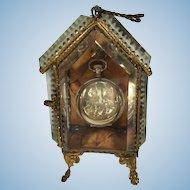 French Casket Pocket Watch Holder, Beveled Glass