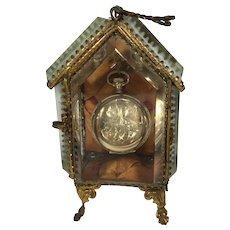 French Casket Pocket Watch Holder, Beveled Glass