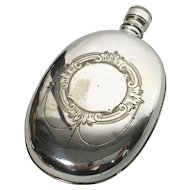 19th Century English Silver Plate Flask; Oval Shape; Hallmarked