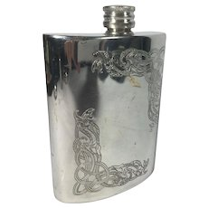 Edwin Blyde Pewter Hip Flask, Sheffield, England