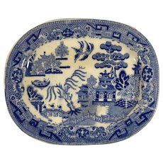 English Blue Willow Small Platter,  C. 1880