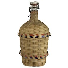 Large Wicker and Glass Flask, Water Flask, 13 Inches, England