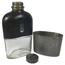 English Leather Flask Pewter Cup, Dixons & Son's, Sheffield