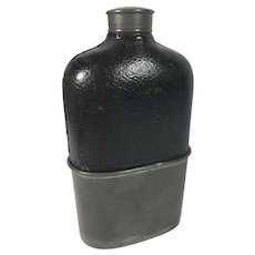 English Leather Flask Pewter Removable Cup, 19th Century