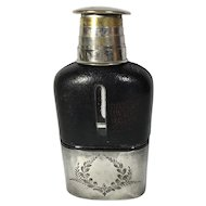 American Leather Flask Pewter Cup, Expandable Pewter Shot Glass Lid, 1897