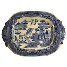 C.1840 English Blue Willow Transferware Platter, Staffordshire, c. 1850