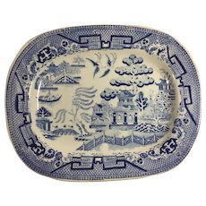 English  Blue Willow Platter, Staffordshire, c. 1850