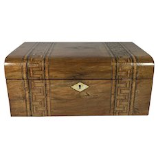 Tunbridge Ware Burr Walnut Jewelry Box with Tray, c1890