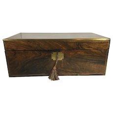 19th Century Walnut Writing Desk, Lap Desk, Slope, Brass Reinforced Edges