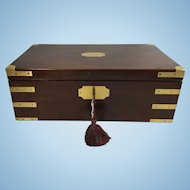 George III Mahogany Brass Campaign Writing Slope, Writing Desk, Lap Desk, c1815