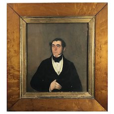 Victorian Oil Painting of an English Gentleman, Burled Maple & Gold Gilt Frame. C.1890