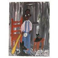 Boy With Their Cats by Folk Artist Alyne Harris, 1995