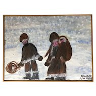 Family Walking in the Snow by Alyne Harris,