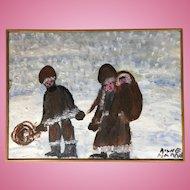 Family Walking in the Snow by Alyne Harris,