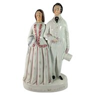English Staffordshire Figurine of Edward, Prince of Wales, and Princess Alexandra of Denmark.  C. 1867