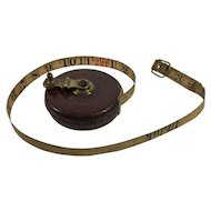 English Robone's Metallic Tape Measure, Leather Case 33 Feet