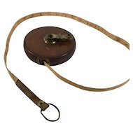 Vintage 66 Foot Leather Cover with Cloth Measuring Tape, J. C. Chesterman Company, Sheffield, England