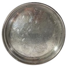Round Reticulated Silver Plate Gallery Tray