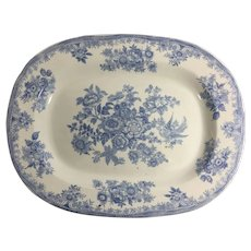 Asiatic Pheasant Blue and White Oval Serving Platter