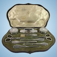 1909 English Sterling Silver 10 Piece Manicure Set