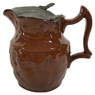 English Brown Jug/Teapot, Pewter Ld,   C. 1880