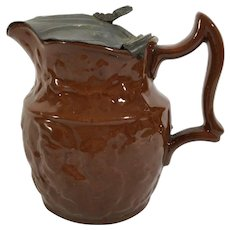 English Brown Jug/Teapot, Pewter Ld,   C. 1880
