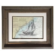 American Sailing Ship Pen and Ink Drawing on Nautical Chart Coastal South Carolina