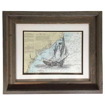 American Sailing Ship Pen and Ink Drawing on Nautical Chart Coastal South Carolina