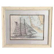 American Sailing Ship Pen and Ink Drawing on Nautical Chart Sanibel Island, Florida
