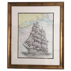 American Sailing Ship Pen and Ink Drawing on a Nautical Chart off the Coast of Long Island
