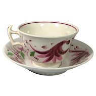 Gaudy Dutch Lusterware Cup and Saucer   C.1830