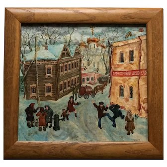 Original Russian Painting of a Rural Village