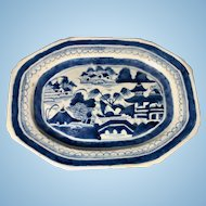 19th Century Chinese Export Canton Porcelain Blue & White Platter