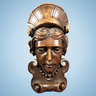 "19th Century English 11"" Wood Hand Carved Face Figurine"