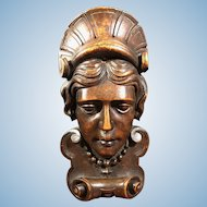"""19th Century English 11"""" Wood Hand Carved Face Figurine"""