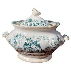 1835 Child's Toy Green Transferware Chinese Bells Tureen
