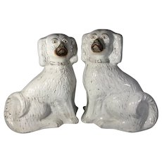 Pair of English White Staffordshire Spaniels, C.1810