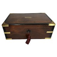 Early Victorian Mahogany & Brass Writing Slope, Writing Desk