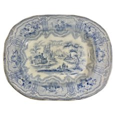 1880 Blue and White Transfer Ware Platter