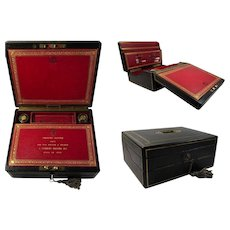 Victorian Scottish Tooled and Gilt Morocco Leather Bound Traveling Dispatch Case