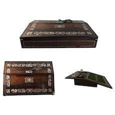 Regency Period Rosewood Lap Desk, Mother of Pearl, C. 1825